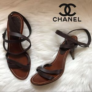 Authentic CHANEL Lace Up Heel Logo Sandals